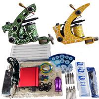 2 Guns cheap tattoo kits - Cheap Beginner Gun Kit Pro tattoo Machine Gun Power Supply Foot Pedal Needles D005C DG006H