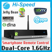 Wholesale HI SPEED MX5 Dual Core Android Smart TV Box XBMC Media Player Center Smartphone Remote Control AMLogic M6 G G