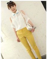 Wholesale summer han edition color new drill collar off the shoulder bat sleeve elegant chiffon shirt