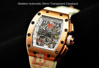 automatic chrono - 2013 Luxury Skeleton Dial Automatic Mens Watch Chrono Big Day Date Rose gold Rubber Men s Sports Watches