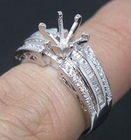 Ring semi mount ring - VS G ROUND CUT SOLID K WHITE GOLD DIAMOND Wedding Engagement SETTING SEMI RING MOUNT
