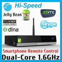 Wholesale 2pcs New arrive MX5 Dual Core Android Smart TV Box XBMC Media Player Center Smartphone Remote Control AMLogic M6 DHL