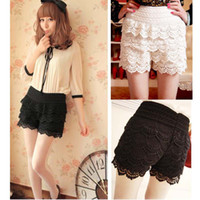 Women Classic Straight Wrinkled Fashion Women Sweet Crochet Lace Tiered Short Skirt Under Safety Pleated Pants Elastic Waist G0163