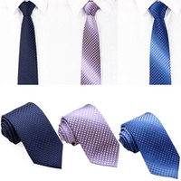 Wholesale New Fashion Woven Solid Color Men s Neck Tie Plaid Check Polyester Wedding Party Necktie GA4003