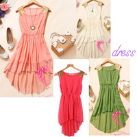 Wholesale Fashion Women Lady Summer Asymmetrical Chiffon Dress Slim Waist Sleeveless Tank Vest Dress G0150