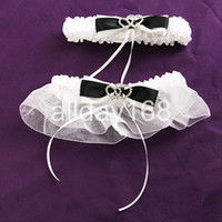 Wholesale Top grade black bow heart rhinestone flower Bride Wedding bridal Garter Sexy Lace Garter With Bow