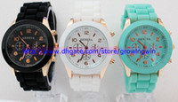 Wholesale Mint green geneva Watch Jelly Watch Three circles Display Silicone Strap Candy Color Unisex Rubber Girls Ladies Women watches