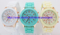 Wholesale 16 colors Shadow Rose Gold Colored style geneva watch rubber candy jelly fashion unisex silicone quartz watches