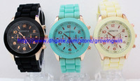 geneva watches - 2013 Unisex Geneva Rose Gold Colored style Quartz watch fashion men s women rubber candy jelly silicone candy watches