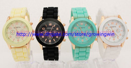 Wholesale Factory sales Rose Gold style geneva watch rubber silicone jelly candy unisex quartz wrist watches colors for men women