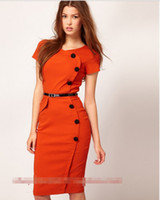 Wholesale 2013 HOT New Women s Fashion Dresses Candy colored decorative buttons thin Elegant Slim Women s Work Dresses