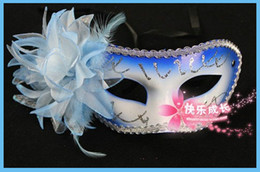 Wholesale Best Selling Mardi Costume Half Faces Masks Halloween Masquerade Dance Party Mask Lily Design On Side Multicolor