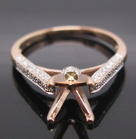 rose gold ring semi mount round - ROUND CUT MM SOLID K ROSE GOLD NATURAL DIAMOND Wedding Engagement SETTING SEMI RING MOUNT