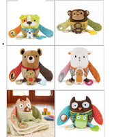 Wholesale Promotion dog owl monkey baby toys appease doll baby baby rattle toy cloth doll retail U Pick style Soothe baby