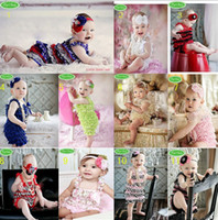 Wholesale 3 Sets Toddler Baby Girl Lace Posh Petti Ruffle Rompers Headband Infant Child One Piece TuTu Lace Clothes