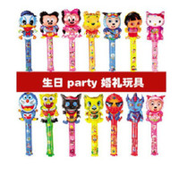 Wholesale Fashion Large scale cm medium cartoon balloon stick blow stick ballonsrefueling inflatable rods animal head