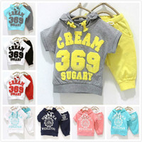 2~6y Girl Summer 2013 NEW retail Baby suit s girls boys cream 369 short sleeve hoodies pants 2pcs clothing set childrens yellow red 8 colors summer clothes