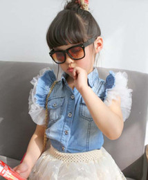 Wholesale Short Sleeve T Shirts Children Clothing Blue Denim Shirt Girls Cute Lace Sleeve Princess Shirts Fashion Summer Casual Shirt Child Clothes