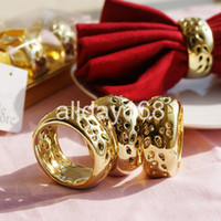 Cheap Unique Wedding Favors gold and red ceramic ringl Napkin Rings Wedding Bridal Shower Favour