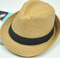 Wholesale Straw braid fedoras jazz hat lovers male women s summer sunbonnet sun hat casual hat summer