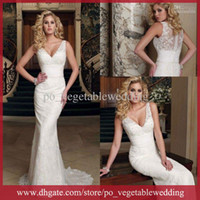 Wholesale Top Charming Sexy V Neck Ivory Vintage Wedding Dress Lace Sleeveless Button Covered Beach Sheath Wedding Gowns SNR65