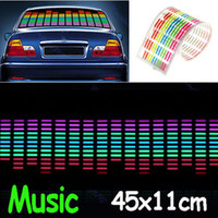 Wholesale 45 cm cm Colourful Flash Car Sticker Music Rhythm LED EL Sheet Light Lamp Sound Music Activated MYY4050