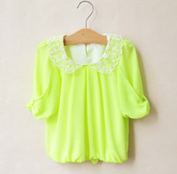 2T-3T 5 different sizes Round Neck 2013 Children's T-shirts Cute Doll Tee Candy-colored Chiffon Shirts Children's Clothing