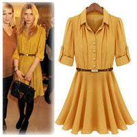 Chiffon Lapel Collar Knee Length Fashion Gold Button Chiffon Women's Dress Yellow Thin Waist Five Point Sleeve Lapel Collar Solid Color Runway Dresses Sent Belt C050