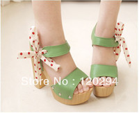 Wholesale Prom Shoes For Women Princess Sweet Bow Bandage Thick Heel Platform High Heeled Sandals Ladies Designer Shoes
