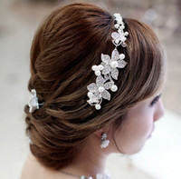Wholesale Stunning Crystal Pearl wedding bridal crystal flora hair accessory headpiece