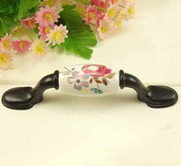 Wholesale 3pcs mm black Tulip ceramic cabinet handle ambry drawer cupboard door knob t5201