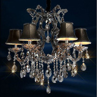 Wholesale Modern Luxury K9 Crystal Ceiling lamp Packing strictly Pendant lamp top Smoky gray Cognac color Chandelier FreeShipping