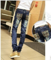 Wholesale Hot Sale Specials spring models street fashion Korean slim straight blue cotton plaid crinkling straight male jeans
