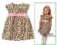 Wholesale 2013 summer pink Western style belt fly sleeve leopard dress girls clothes Casual Dresses