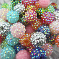 Wholesale mm assorted resin rhinestones ball beads jewelry chunky necklace beads
