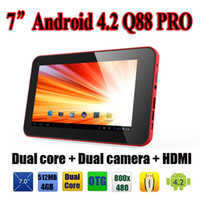 Wholesale 1PC Dual Core Q88 Pro quot Inch Android A20 tablet PC GB Points Capacitive Touch Screen Dual Camera HDMI USB Ebook Reader