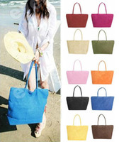 Wholesale New Basic Summer Big Straw Shoulder Tote Shopper Beach Bags Purses
