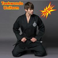 best taekwondo uniform - Best Selling Unisex Adult Women Men Taekwondo TKD Martial Art Suit Uniform V neck Coat Dan Dobok Costume Cloth Set