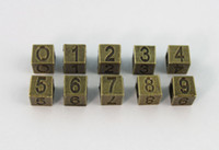 50PCS Antiqued Bronze Number Bead Charms W big Hole #22901
