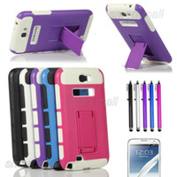 Wholesale Heavy Duty Hybrid Rugged Silicone Case Cover Kickstand For Samsung Galaxy Note II N7100 Cases w Screen Protector Film Stylus Pen