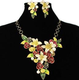 Wholesale red pearl artist costume flower Jewelry set baken varnish craftsmanship necklace earrings NJ wedding Jewelry Rihood Trading Neoglory