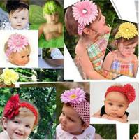 Headbands Blending Floral 20pcs headbands Crochet headband + 20pcs girls Hair flower hair clips baby hair bow clip