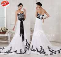 Wholesale Newest White And Black Wedding Dresses A line Chapel Train Lace Applique Sash Bandage Wedding Gowns