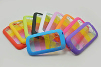 Plastic For Samsung  100pcs lot Colorful Rainbow Protector TPU Plastic Hard Back Cover Case for Samsung Galaxy S3 Mini i8190 free shipping