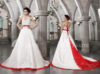 Wholesale 2013 Luxury White And Red Wedding Dresses Halter Ball Gown Beads Embroidery Bandage Wedding Gowns