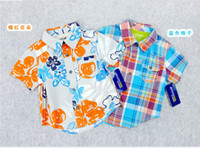 Boy 2-5y Summer 2013 boys shirts check short sleeve shirt Wholesale children's clothing summer models boys short-sleeved shirt cotton tops floral boys tops