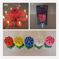 Wholesale Flower lotus musical birthday candle