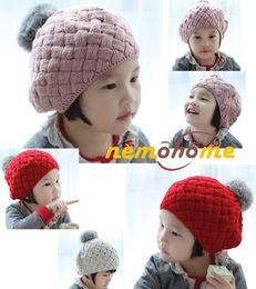 Wholesale Baby hats Pom poms pink knit hat girls boys beanie winter toddler kids boy girl faux warm crochet cap M years children s