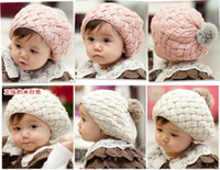 Wholesale Baby hats Pom pom knit hat girls boys beanie winter toddler kids boy girl faux warm knitted caps knitting cap months years children s