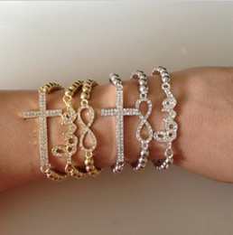 New Gold Silver Plated Sideways Sideway Crystal Rhinestone Love Cross Bead Bracelet Unisex Bracelet Bangles 10 Pcs Lot ZY3